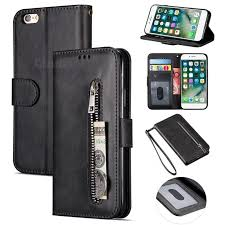 retro calfskin zipper leather wallet case cover for iphone 6s plus 6 plus 6p
