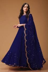 Full Length Suit Design Navy Blue Colored Georgette Embroidered Designer Floor Length Anarkali Suit