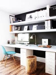 simple floating shelves over the desks