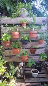 DIY upcycle Pallet herb garden. Great vertical garden design by Eric of  Edison Ford winter estates in Ft. Myers, Fl. Clay pots secured to a pallet  with ...