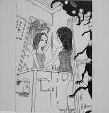 オリジナルイラスト手描きイラスト自作モノクロ絵ハンドメイド女の子百足
