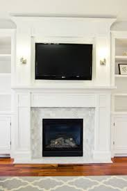 Living Room, Large Collection Of Modern Age Fireplace Surround For Your  Living Room: Chic White Tile And Wood Mantle Around Fireplace Mount .