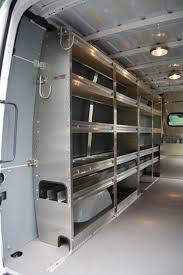 sprinter van with aluminum shelving and pipe tray