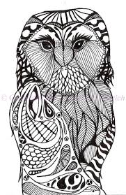 Art, Black and White Art, Pen and Ink Bird, Signed 5 x 7 Owl Print, Owl  Decor, Owl Drawing