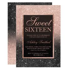 Black Rose Gold Marble Typography Sweet 16 Invitation Zazzlecomau