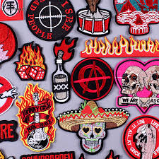Pulaqi Punk Stripe <b>Patches Rock Bands</b> Embroidered <b>Patches</b> For ...