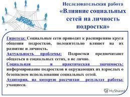 Презентация на тему Исследовательская работа Влияние социальных  4 Исследовательская