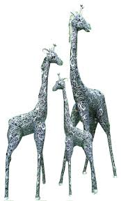 giraffe metal outdoor statues 3 piece set