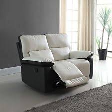 modern reclining loveseat. Modern Living Room Two Tone Bonded Leather Oversize Recliner Loveseat Sofa Reclining
