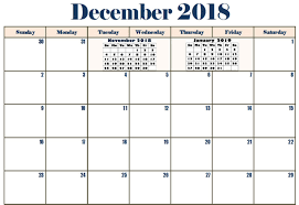 December Calendar Excel Free December 2018 Calendar Word Pdf Excel Template Printable