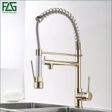 Flg Kitchen Faucet Golden Finish Hand Sprayer Spring Style Single