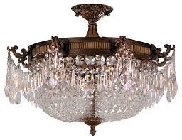 traditional 4 light antique bronze 30 full lead crystal 24 basket semi flush