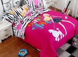 fashion girl and dog print zebra pattern 4 piece cotton duvet cover sets