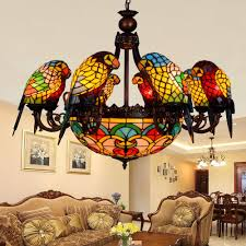 Tiffany Dining Room Lights European Retro 6 8 Heads Living Room Dining Room Parrot