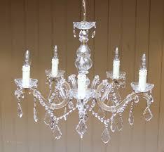 french cut glass 5 branch chandelier