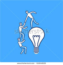 skill icon blue. cooperation and teamwork. vector illustration of businessman helps to climb on bulb | modern flat skill icon blue