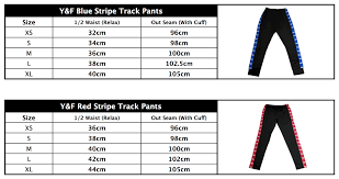 Young And Free 2017 Track Pant Size Chart Help Support