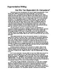 argumentative essay computer are you too dependent on computers argumentative essay outline