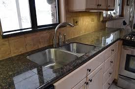 granite tile countertop and backsplash
