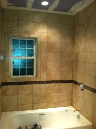 tile shower with window trim around bathtub tile subway tile around shower window