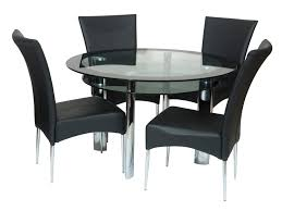 Glass Dining Table Set 4 Chairs Round Glass Dining Table Set Black Leather Chair Beige Rug Fruit