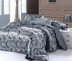 grey double bedding paisley bedding set super king size queen double silver grey satin quilt duvet cover fitted bed sheets silk bedspread doona king duvet