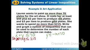 graphing inequality systems word problems