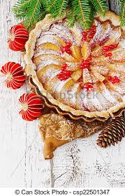 Christmas Apple Pie And Christmas Decorations On Festive Table