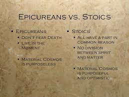 Image result for stoic vs. Epicurean philosophy