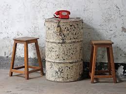 metal drum table. Vintage Metal Drum Table And Storage C