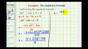 ex quadratic formula one real rational repeated solution