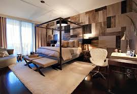 Bachelor Pad Bedroom Essentials with Canopy Bed and Modern Wall Pattern
