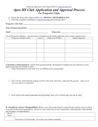 New Club Application Apex High School Student Council