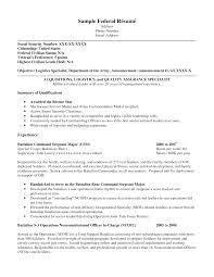 Resume Sample Simple Federal Resume Example Sample Resumes