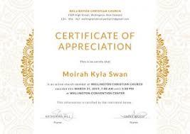 Church Certificate For Appreciation Editable Template Design