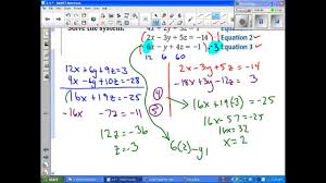 algebra ii 3 4 solve systems of linear equations in three variables
