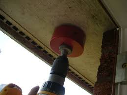 hole saw in soffit