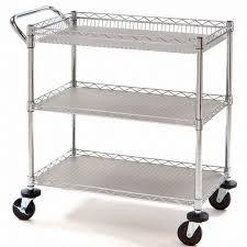 new rolling chrome steel utility cart 3 shelf kitchen tool