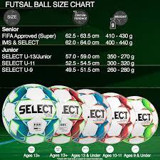 Ball Size Chart Futsal Ball Size Chart Select Sport