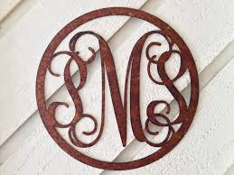 rectangular frame circular frame rusty vine monogram  on metal lettering wall art with rustic metal vine monogram metal vine monogram wreath monogram