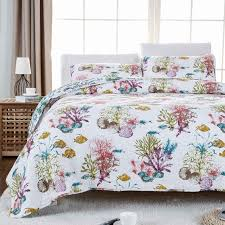 fadfay ocean fish comforter set nautical bedding set queen size soft cotton beach themed bed quilt