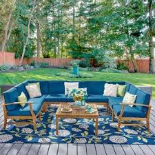 giancarlo teak 10 piece wood outdoor sectional set with blue cushions