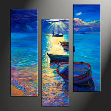 Small Picture 3 Piece Blue Ocean Sunrise Photo Canvas