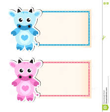 Cute Template Cow Cute Blank Template For Invitation Stock Vector Illustration