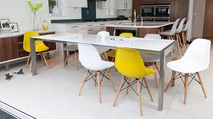 modern eames style dining chairs and double extending dining table white gloss and brushed metal
