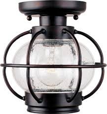 one light oil rubbed bronze seedy glass outdoor semi flush mount traditional outdoor