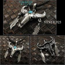 texas horn cow western bull skull pendant sterling silver 925 turquoise wild hearts leather silver id pt3559