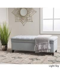 grey tufted storage bench. Oliver \u0026 James Sofia Fabric Storage Ottoman (Light Grey) Grey Tufted Bench