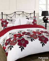 red and white bedding. Beautiful Red Dreamscene POYRE63 Pollyanna Floral Design Duvet Cover Bedding Set With  Pillowcases Red King Amazoncouk Kitchen U0026 Home Intended Red And White