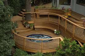 above ground pool with deck and hot tub. The Breiling Deck Above Ground Pool With And Hot Tub